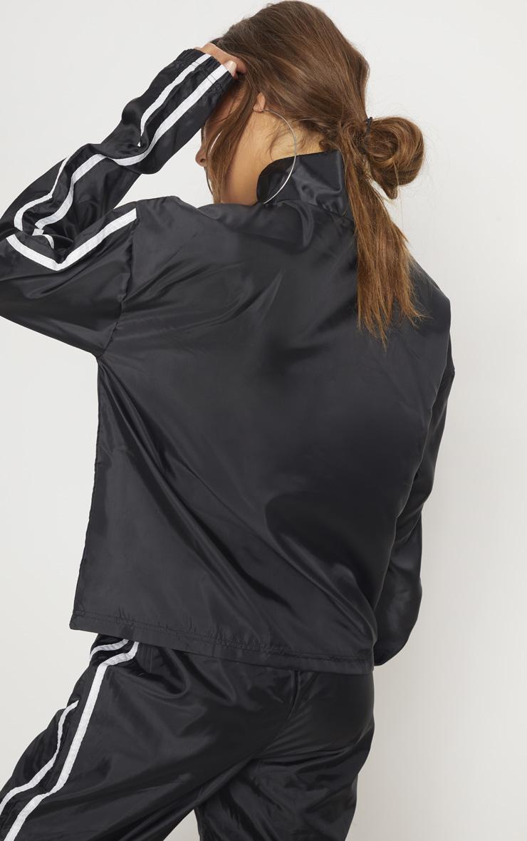 Black Contrast Sport Stripe Zip Up Shell Top 2