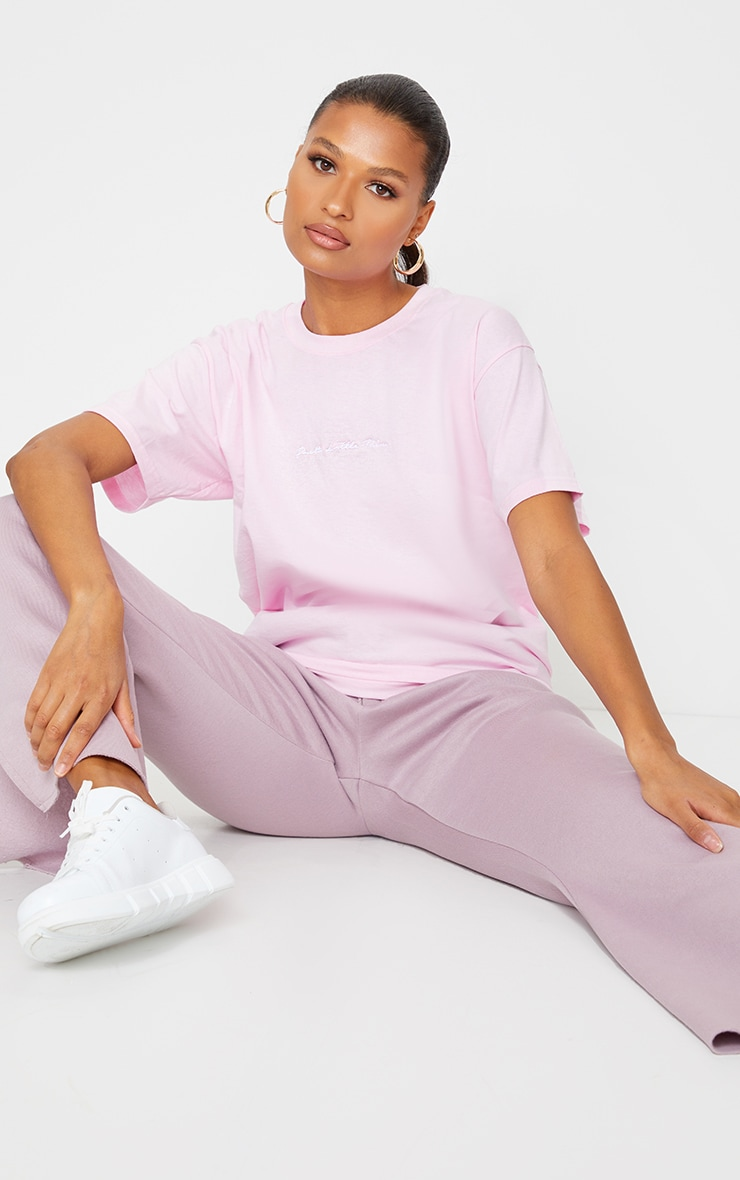 PRETTYLITTLETHING Pale Pink Oversized T Shirt 1