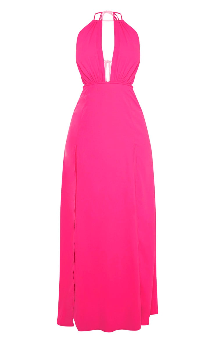 Pink Halterneck Keyhole Extreme Split Maxi Dress 3