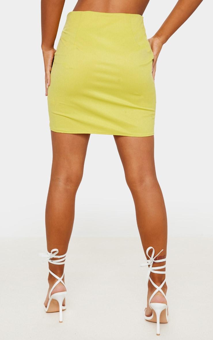 Lime Linen Feel Split Front Mini Skirt 3