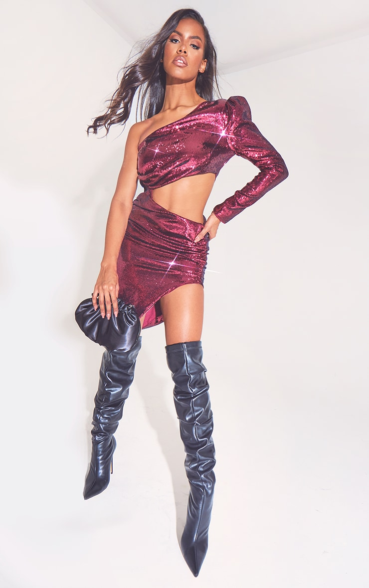 Burgundy Sequin One Shoulder Cut Out Midi Dress 1
