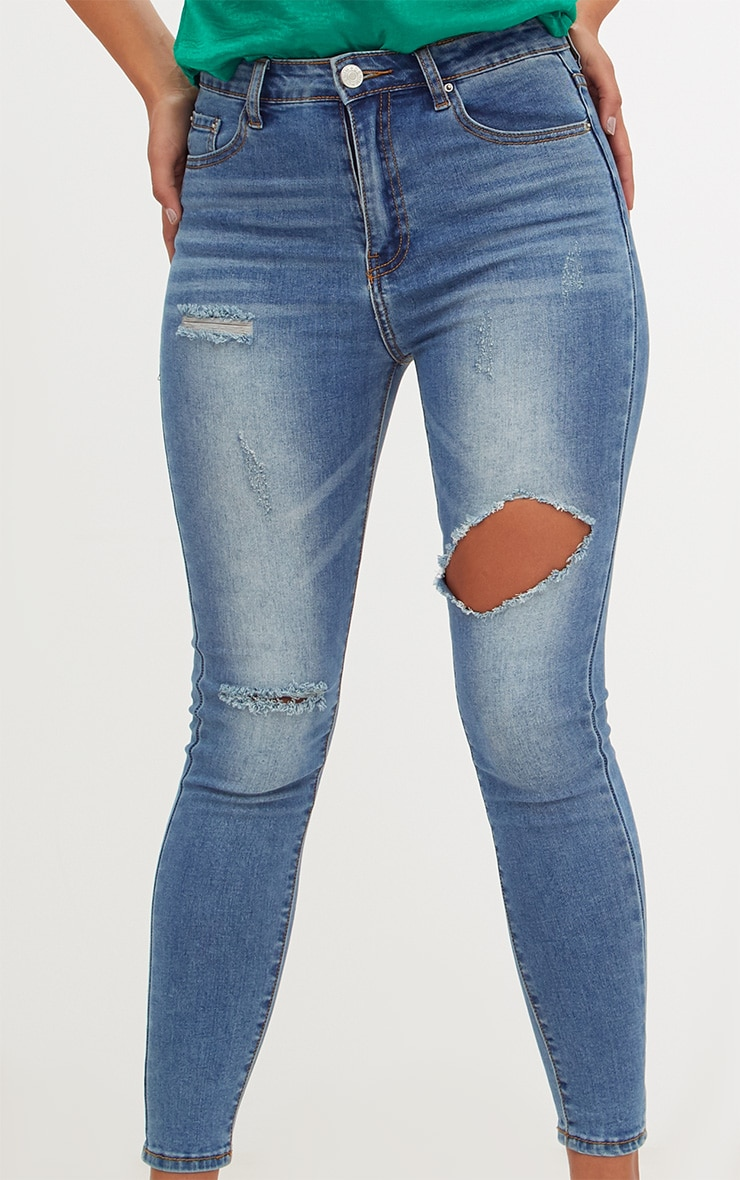 Mid Wash Open Thigh Skinny Jean 5