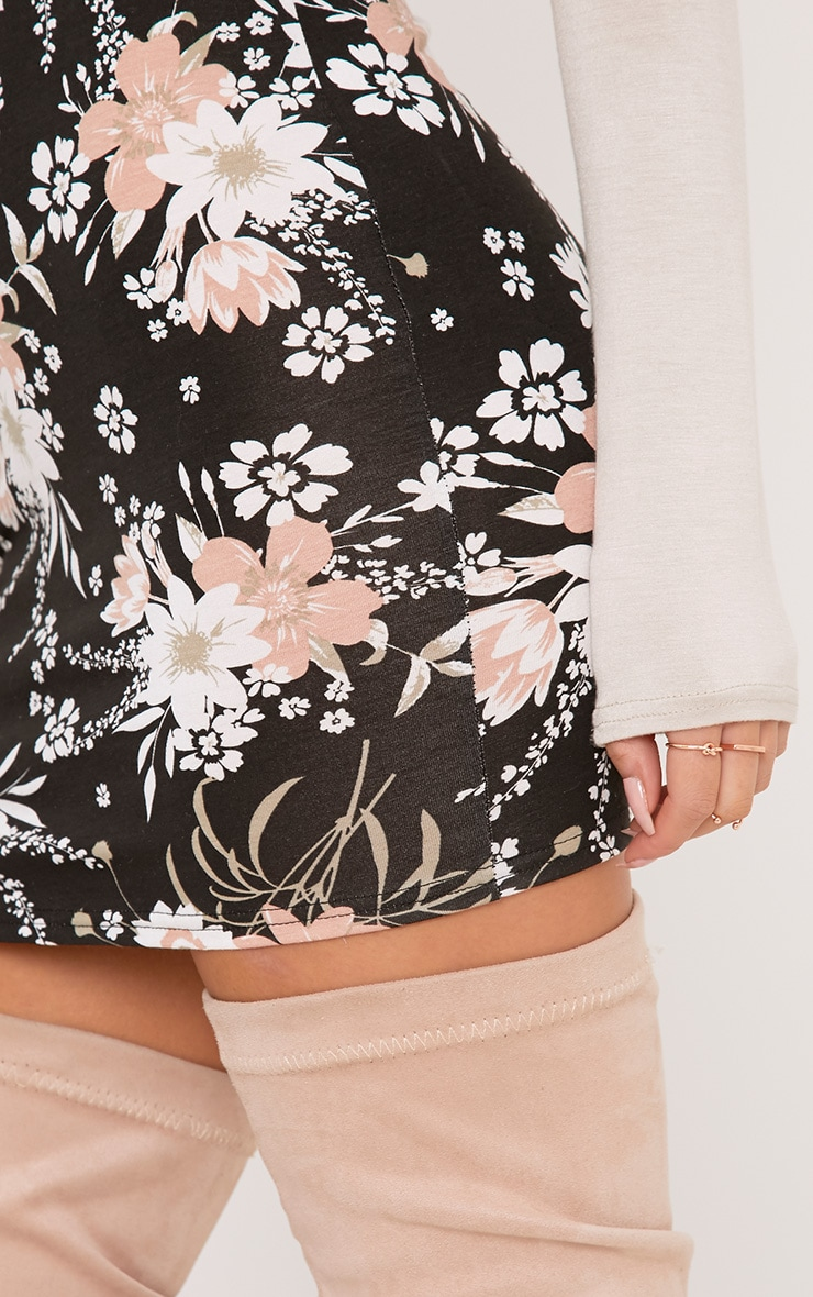 Donya Black Floral Print Mini Skirt 6