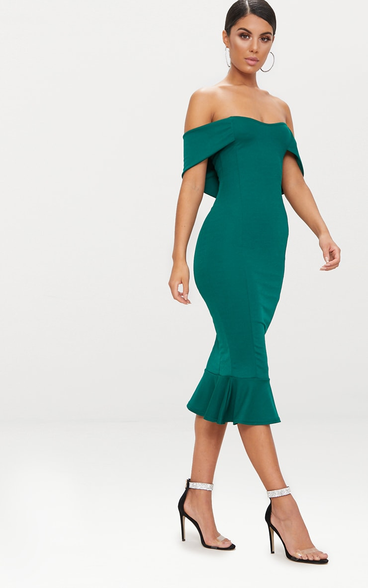 Emerald Green Bardot Frill Hem Midi Dress 4