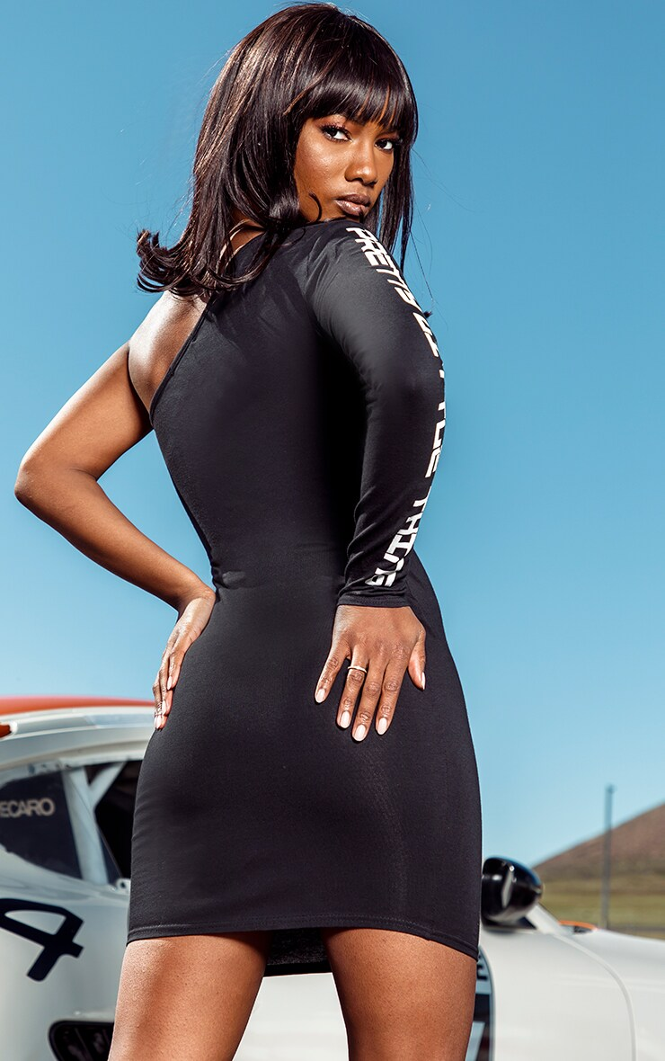 PRETTYLITTLETHING Black One Shoulder Bodycon Dress 2
