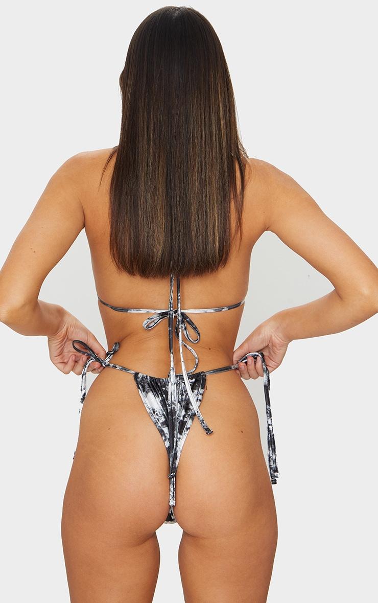 Monochrome Tie Dye Mini Ruched Tie Side Bikini Bottom 4