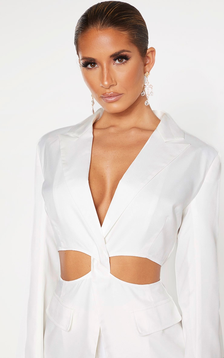 White Plunge Cut Out Detail Suit Blazer 5