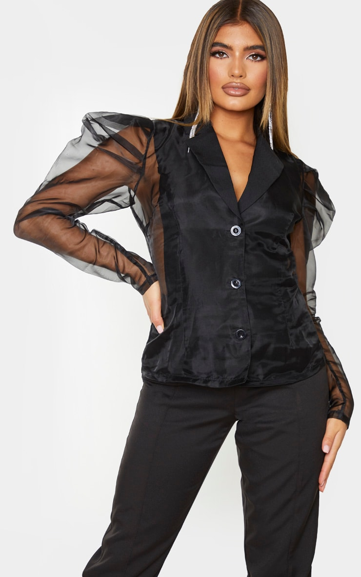 Black Sheer Puff Sleeve Fitted Shirt 4