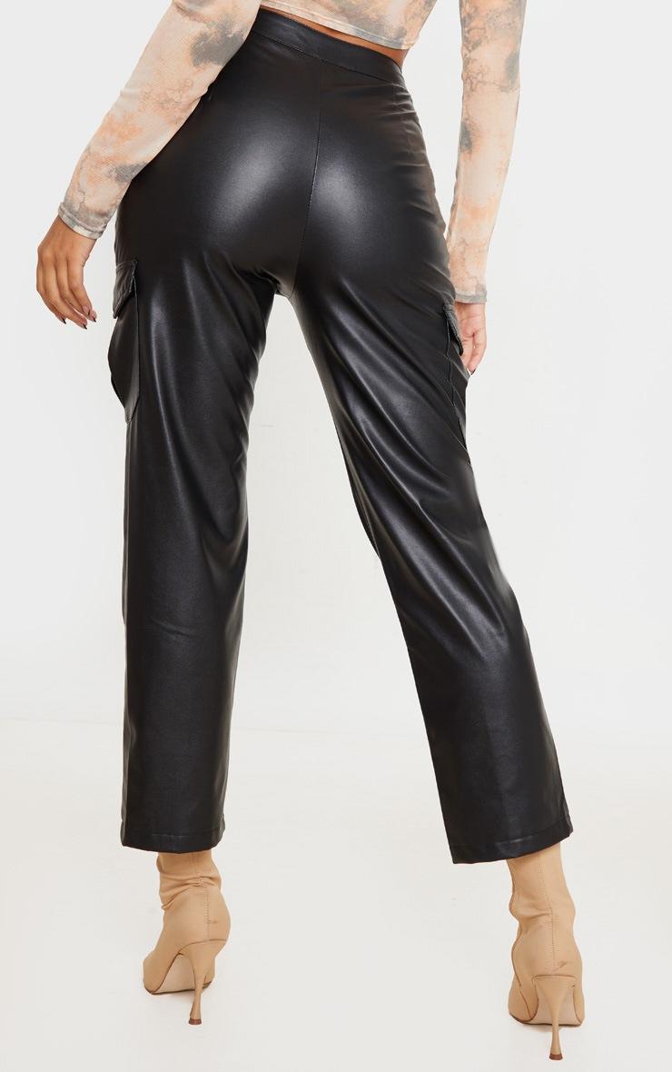 Black Faux Leather Hem Detail Straight Leg Trousers 3