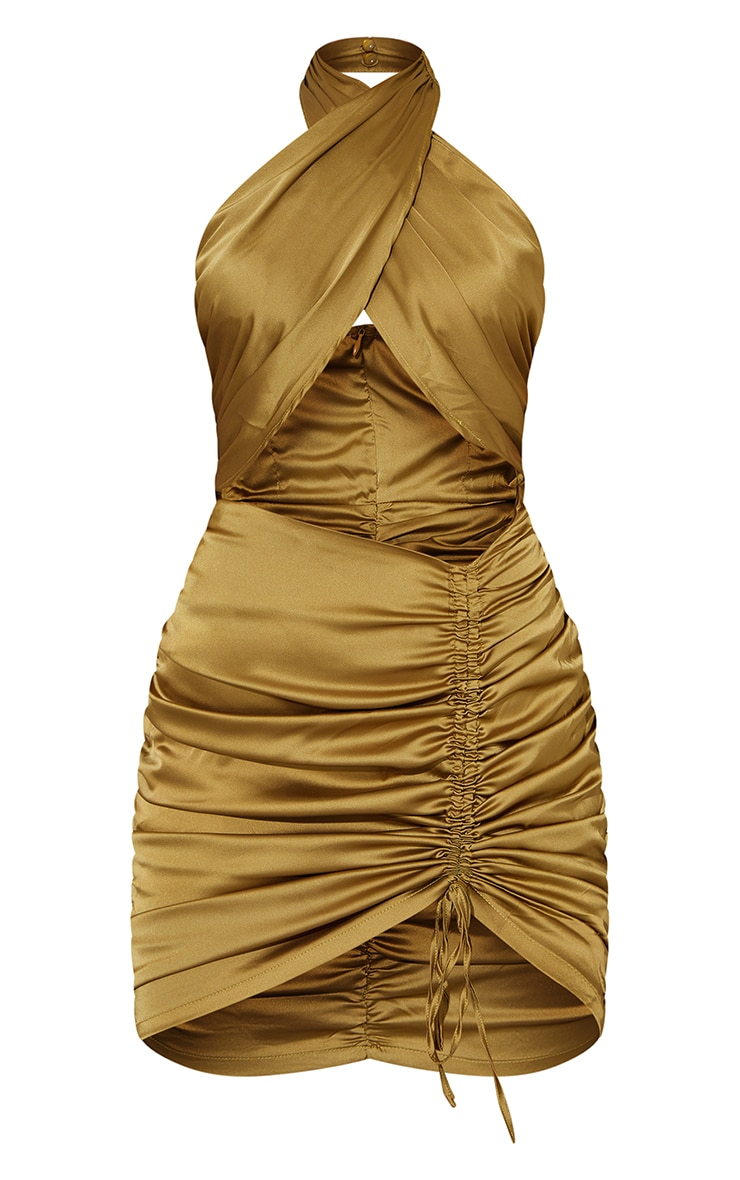 Olive  Satin Halterneck Cut Out Ruched Bodycon Dress 5