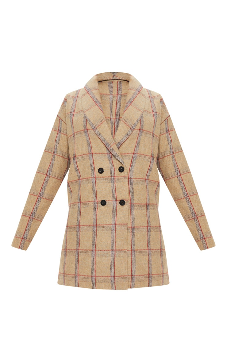 Petite Nude Check Oversized Coat 3