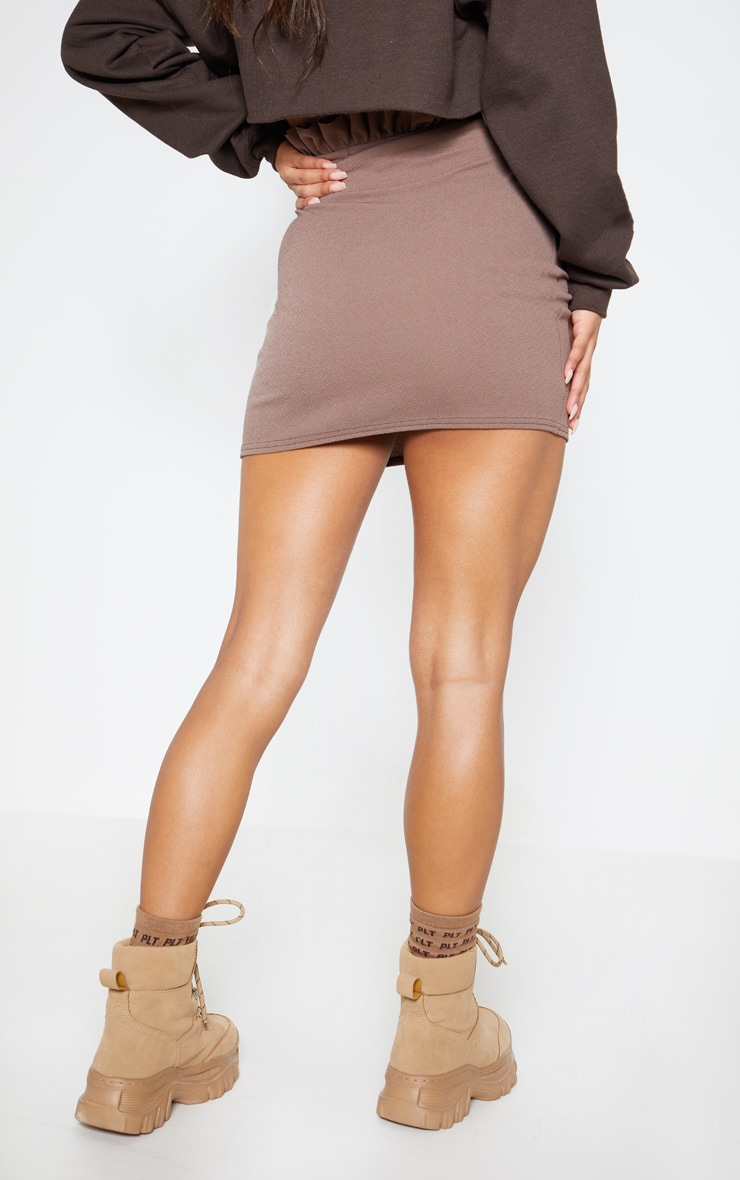 Mocha Tortoiseshell O Ring Belt Paperbag Mini Skirt 4