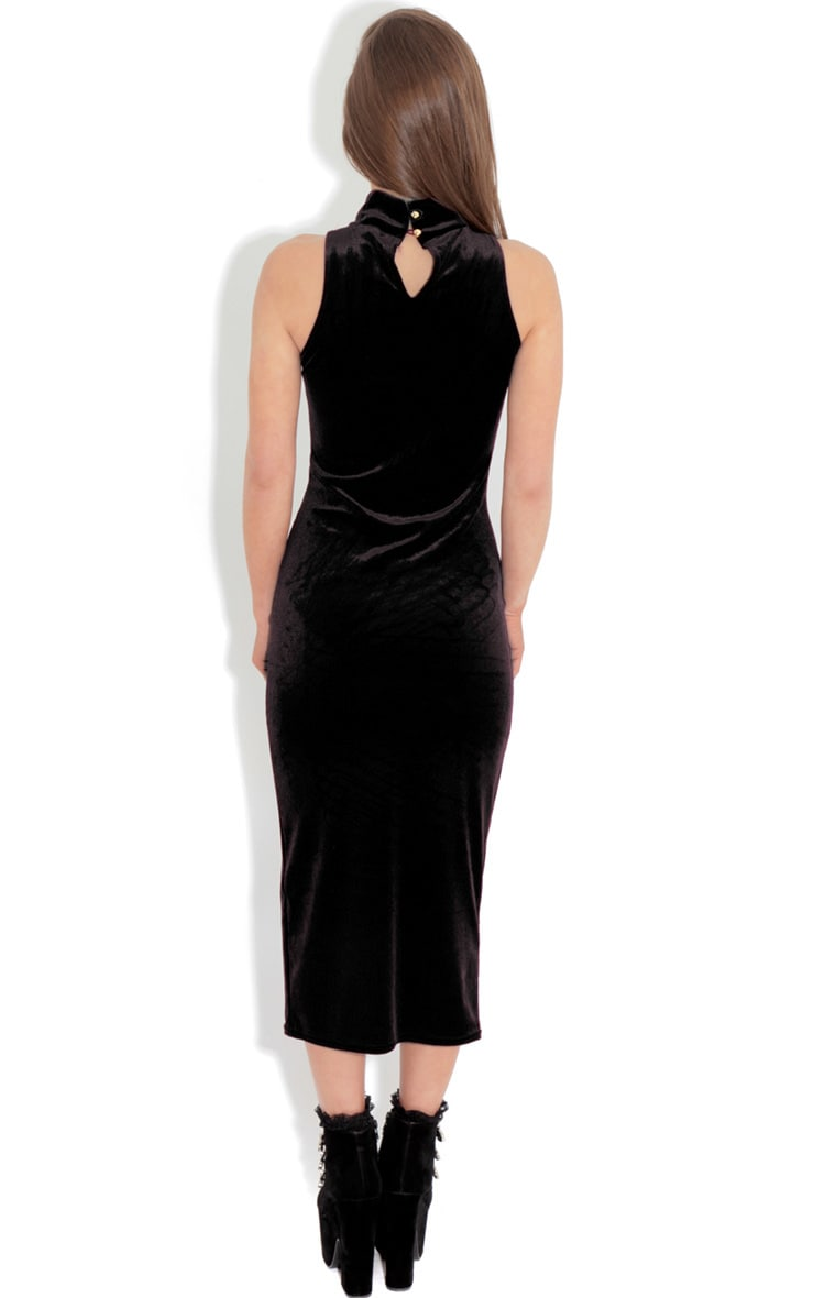 Gigi Black Velvet Midi Dress 2