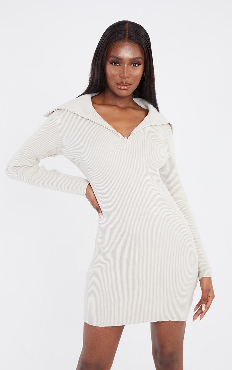 Tall Stone Half Zip Thick Rib Mini Dress 3