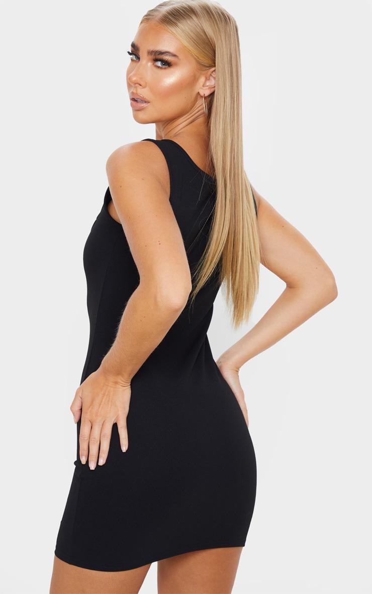 Black Sleeveless Squared Neck Detail Bodycon Dress 2