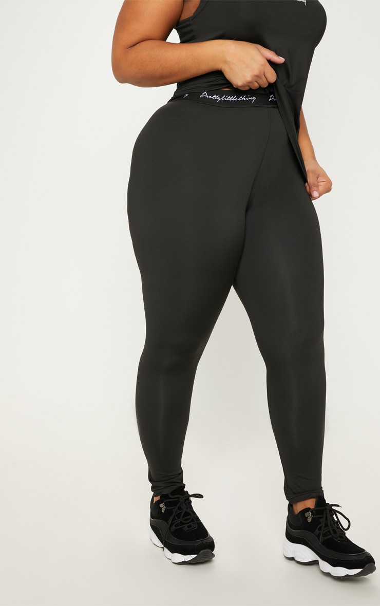 PRETTYLITTLETHING Black Plus Elasticated Band Leggings 2