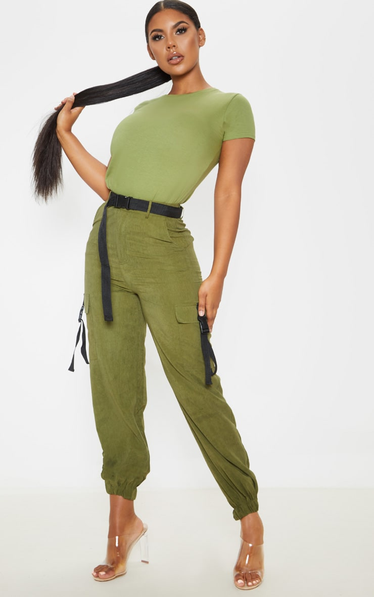 Khaki Buckle Detail Belted Cargo Pants 1