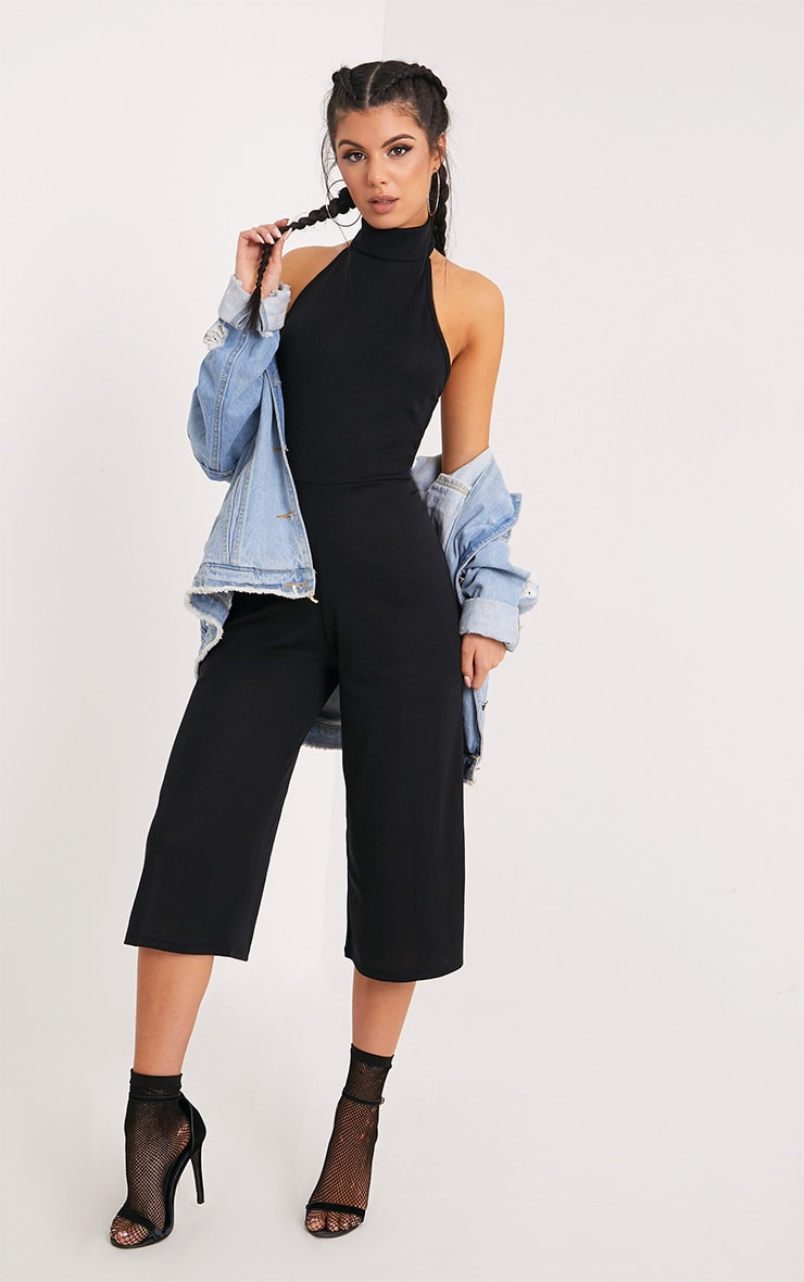 Marcie Black High Neck Low Back Culotte Jumpsuit 4
