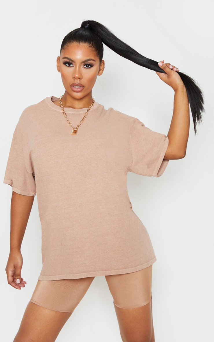 Taupe Washed Oversized T Shirt 1