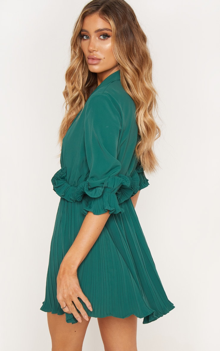 Emerald Green  Frill Detail Pleated Skater Dress 2