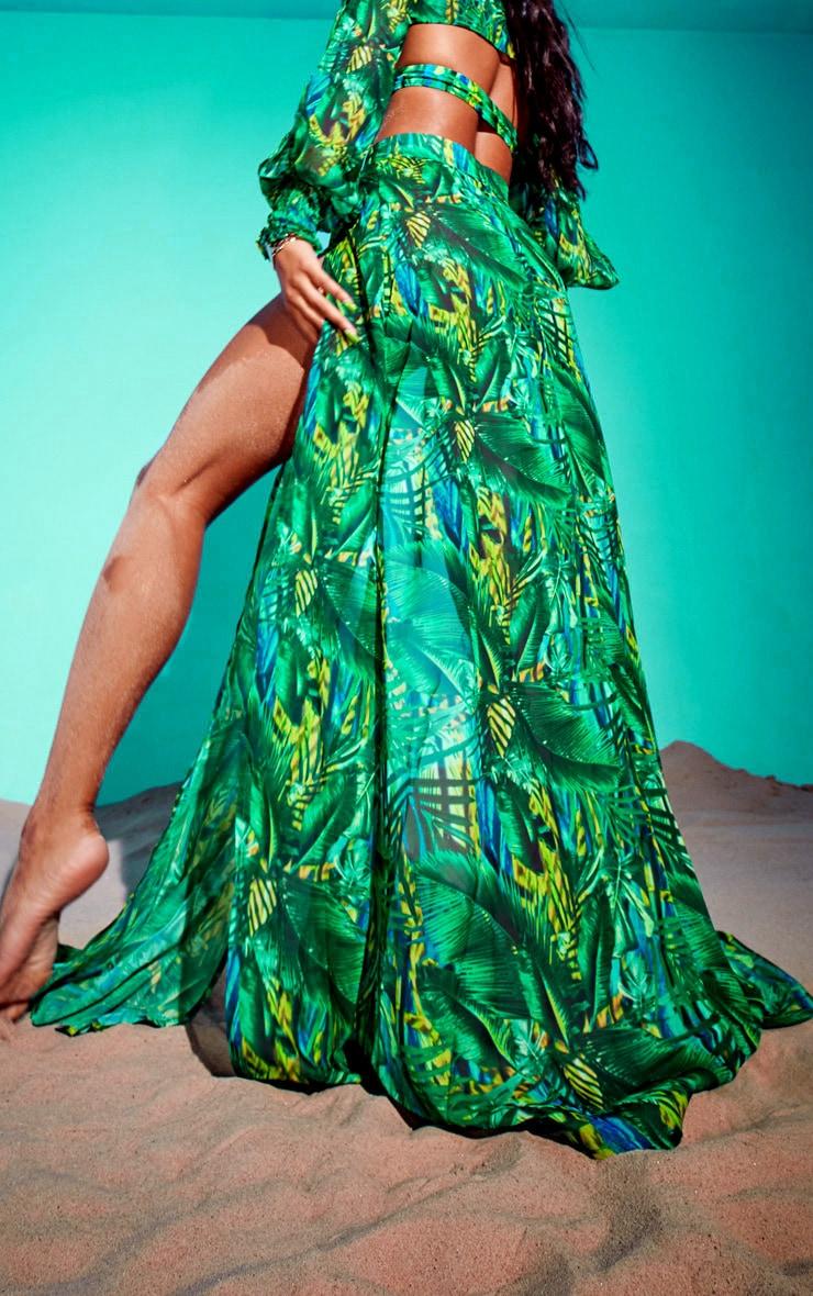 Green Tropical Gold Trim Split Front Beach Skirt 3