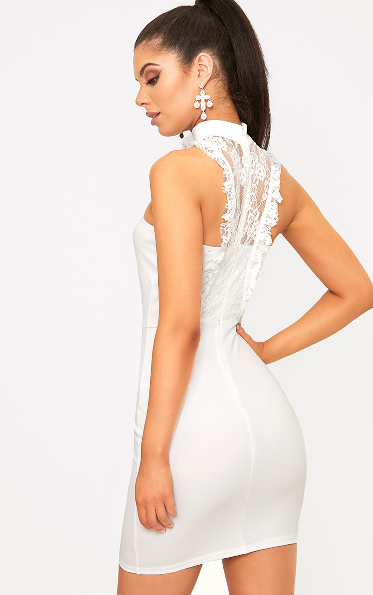 Jessalyn White Lace Overlay High Neck Bodycon Dress 2