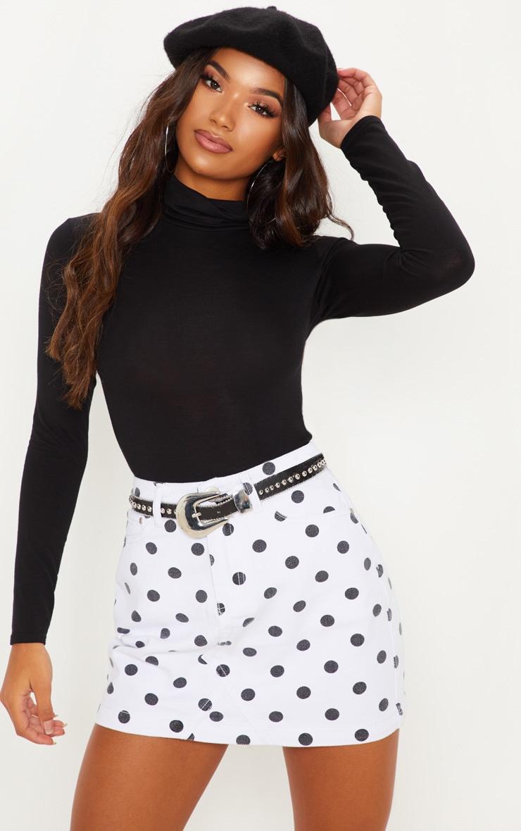 Monochrome Basic Spot Print Denim Skirt  1