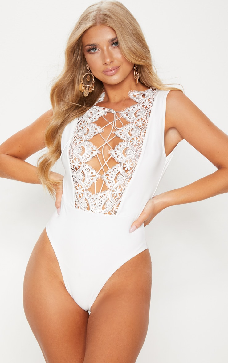 White Lace Up Lace Trim Swimsuit