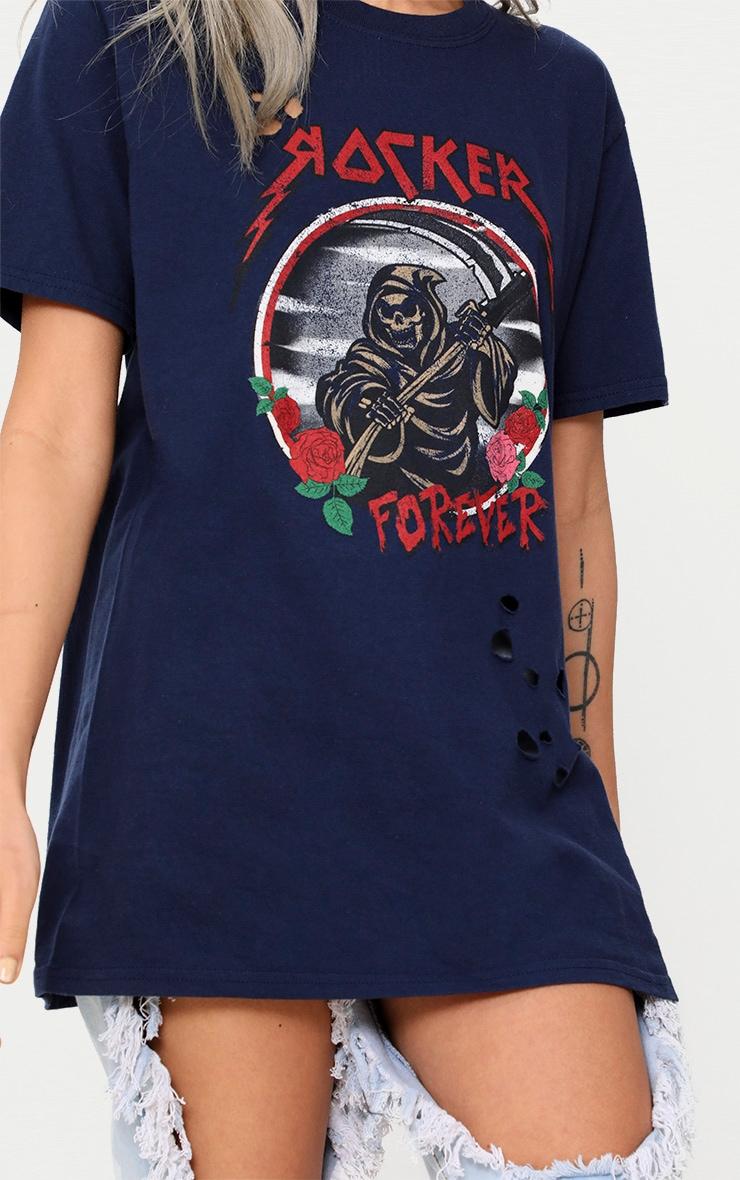 Navy Rocker Slogan Distressed T Shirt 5