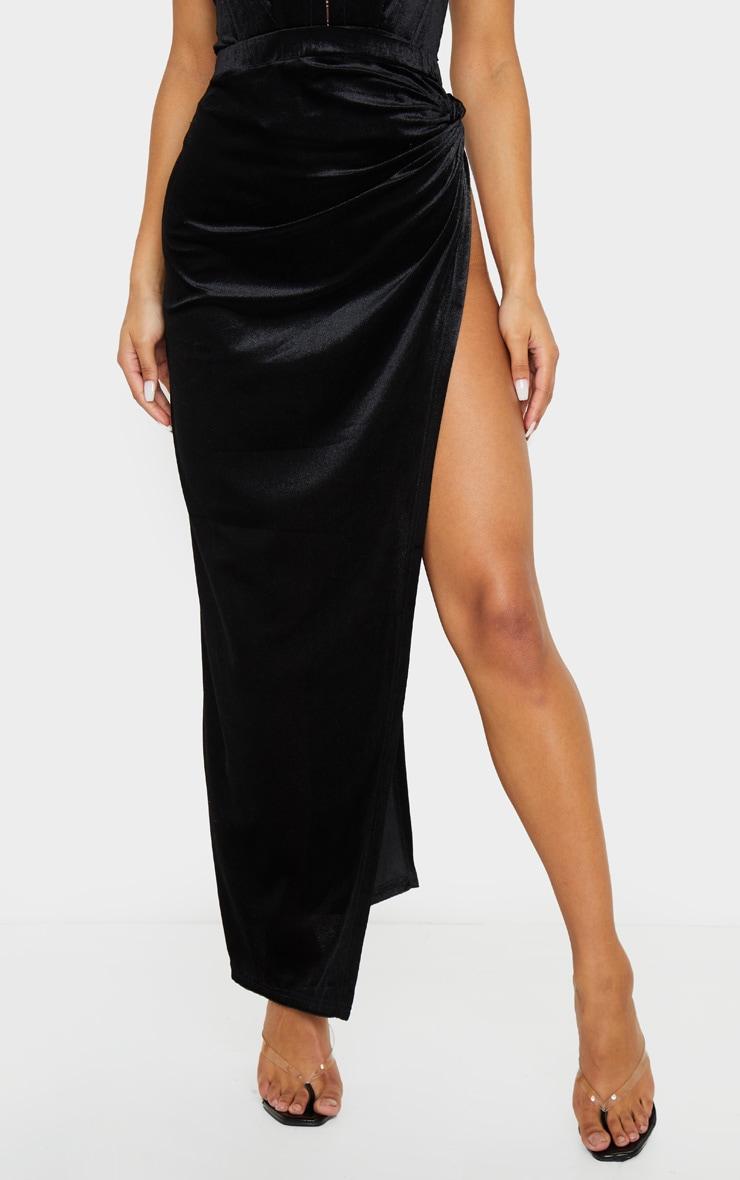 Black Velvet Tie Split Side Midi Skirt 3