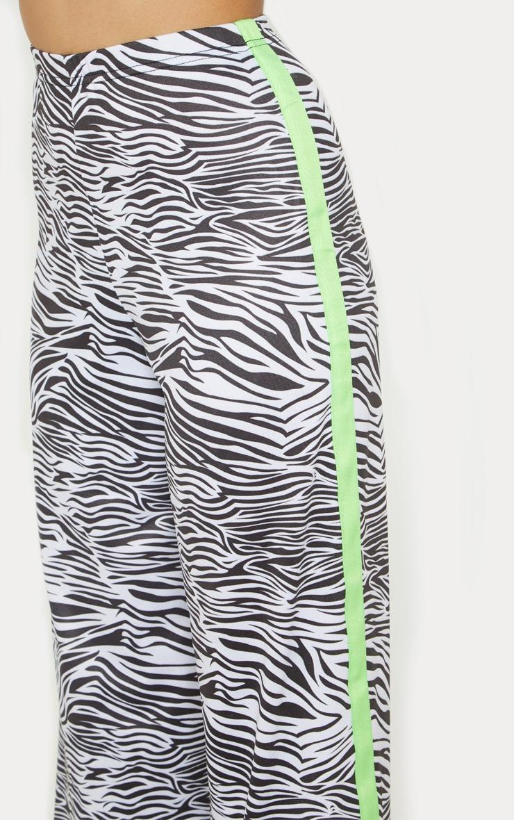 Petite White Zebra Print Neon Stripe Wide Leg Pants  5