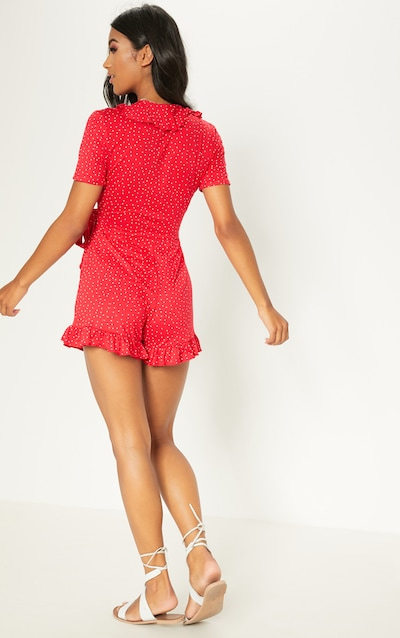 Red Polka Dot Wrap Playsuit