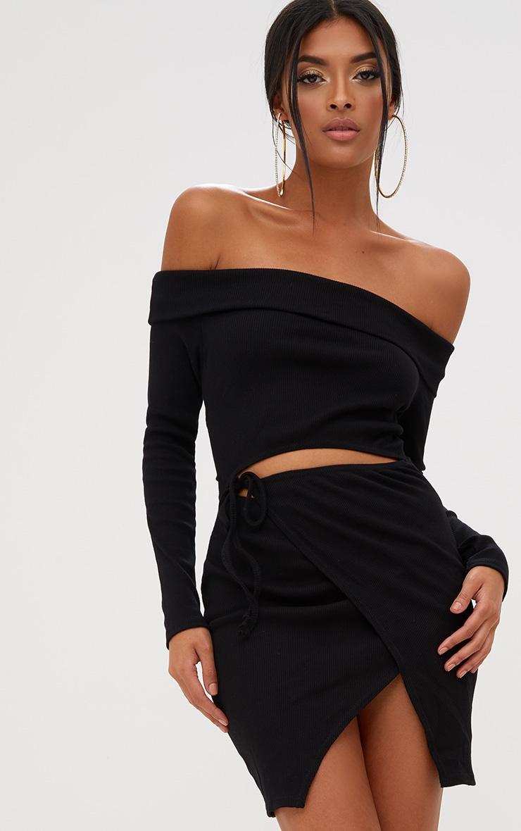Black Bardot Wrap Tie Front Bodycon Dress 1