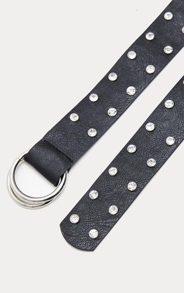 Black Studded Diamante Belt 3