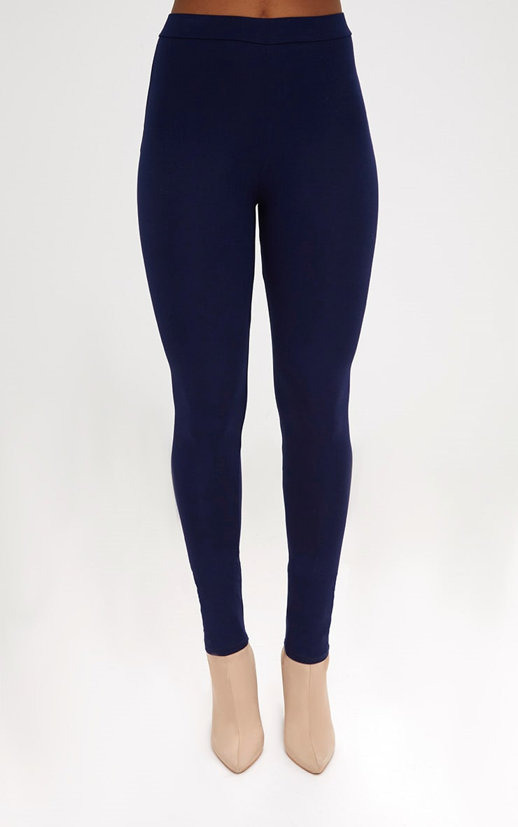 Navy Ultimate High Waisted Jersey Leggings  2
