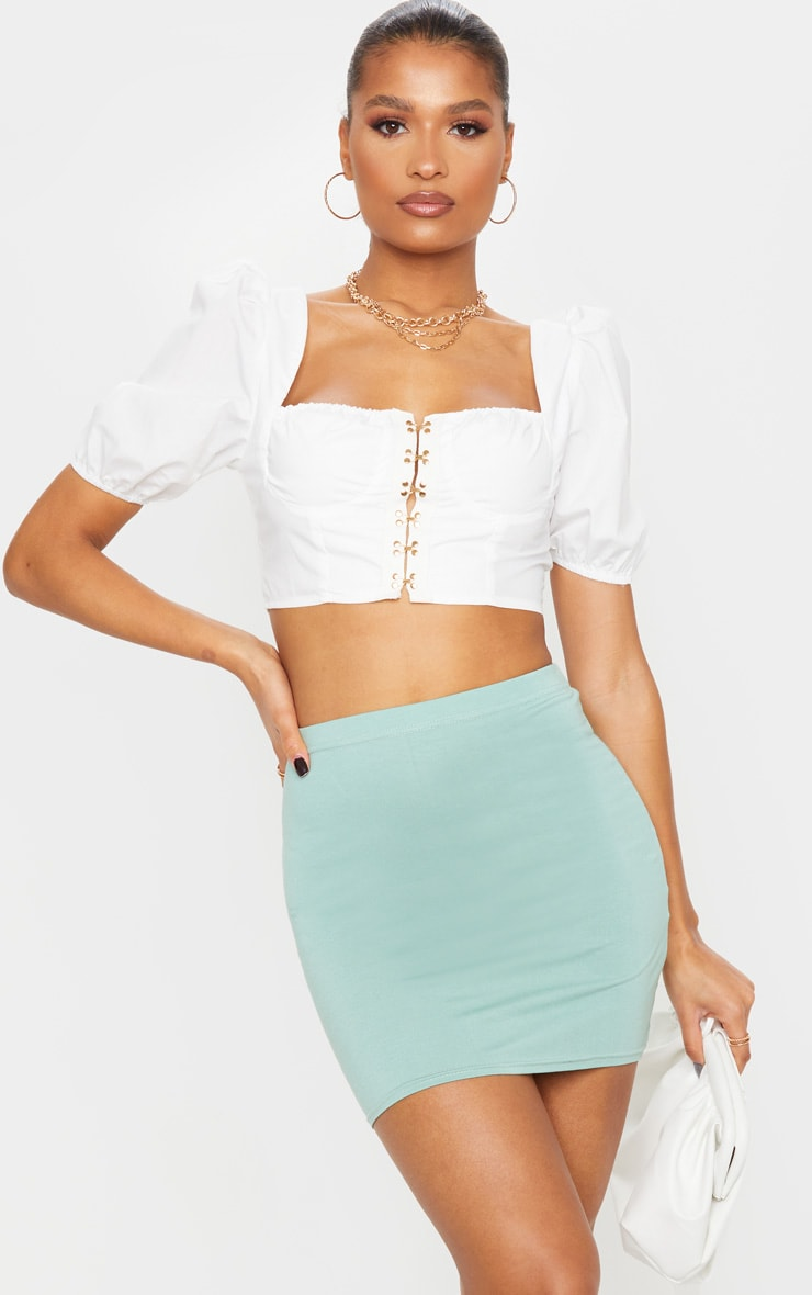Sage Green Basic Mini Skirt 4