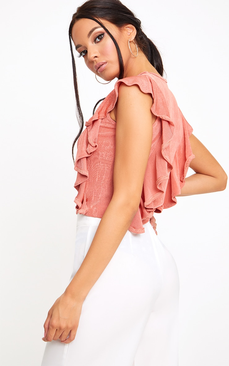 Coral Frill Shimmer Crew Neck 2