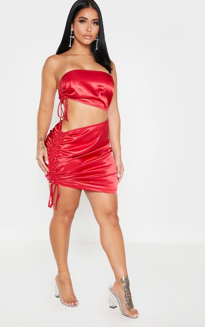 Shape Red Bandeau Ruched Side Cut Out Dress