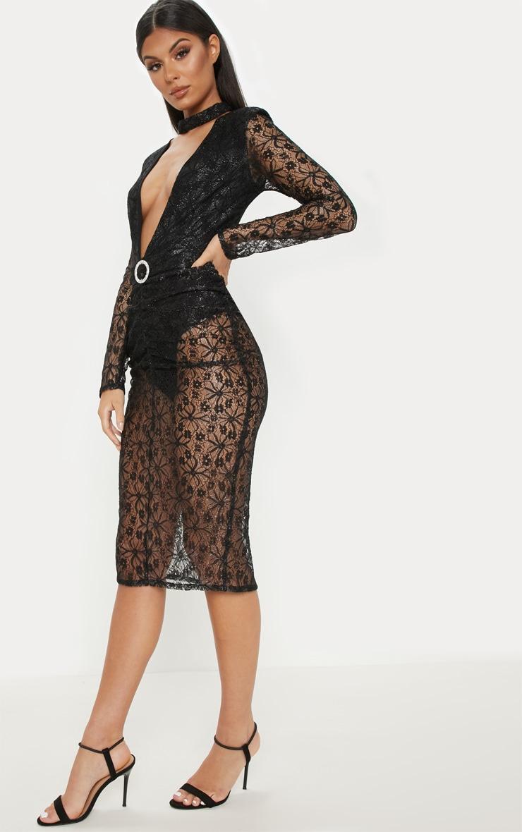 Black Lace High Neck Diamante Buckle Midi Dress 4