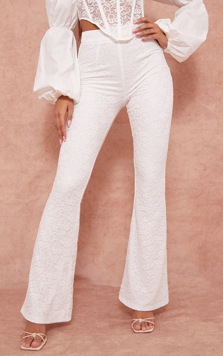 White Woven Lace High Waisted Flared Pants 2