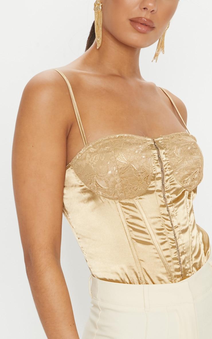 bdb5bdf262 Champagne Lace Detail Satin Bodysuit image 6