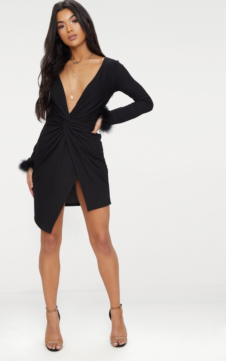 Black Long Sleeve Feather Cuff Wrap Bodycon Dress 4