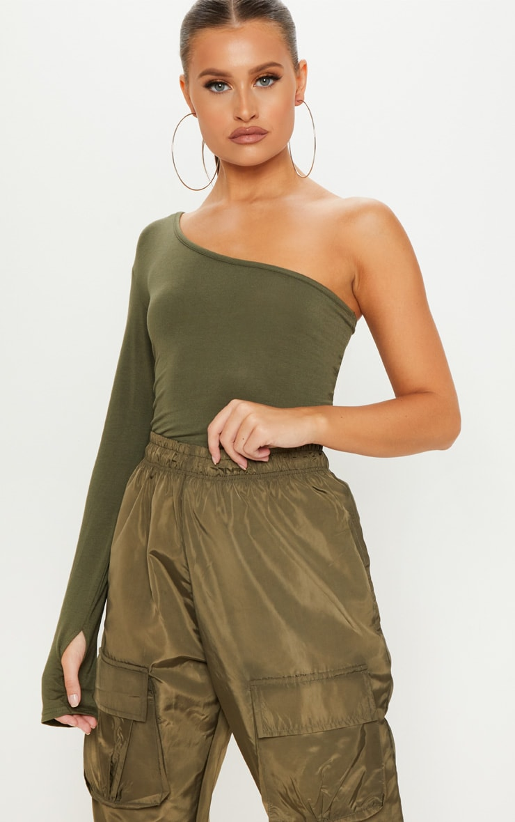 Khaki Long Sleeve One Shoulder Top