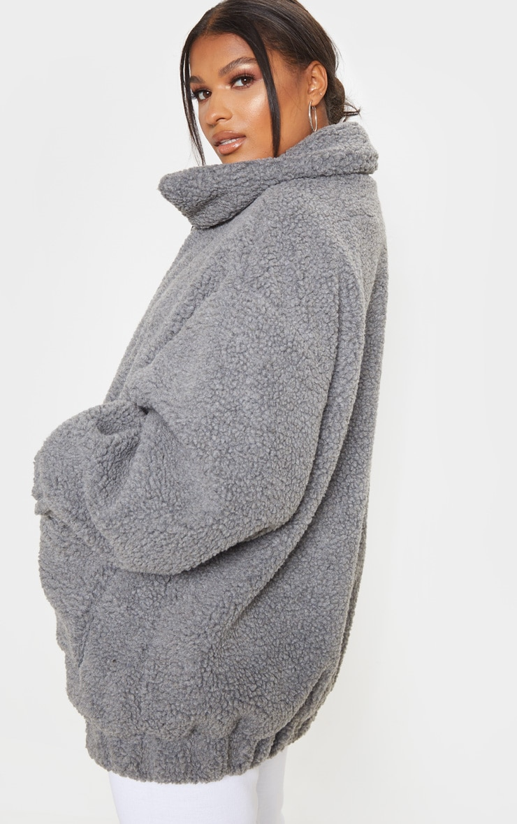 Grey Oversized Borg Pocket Front Coat 3