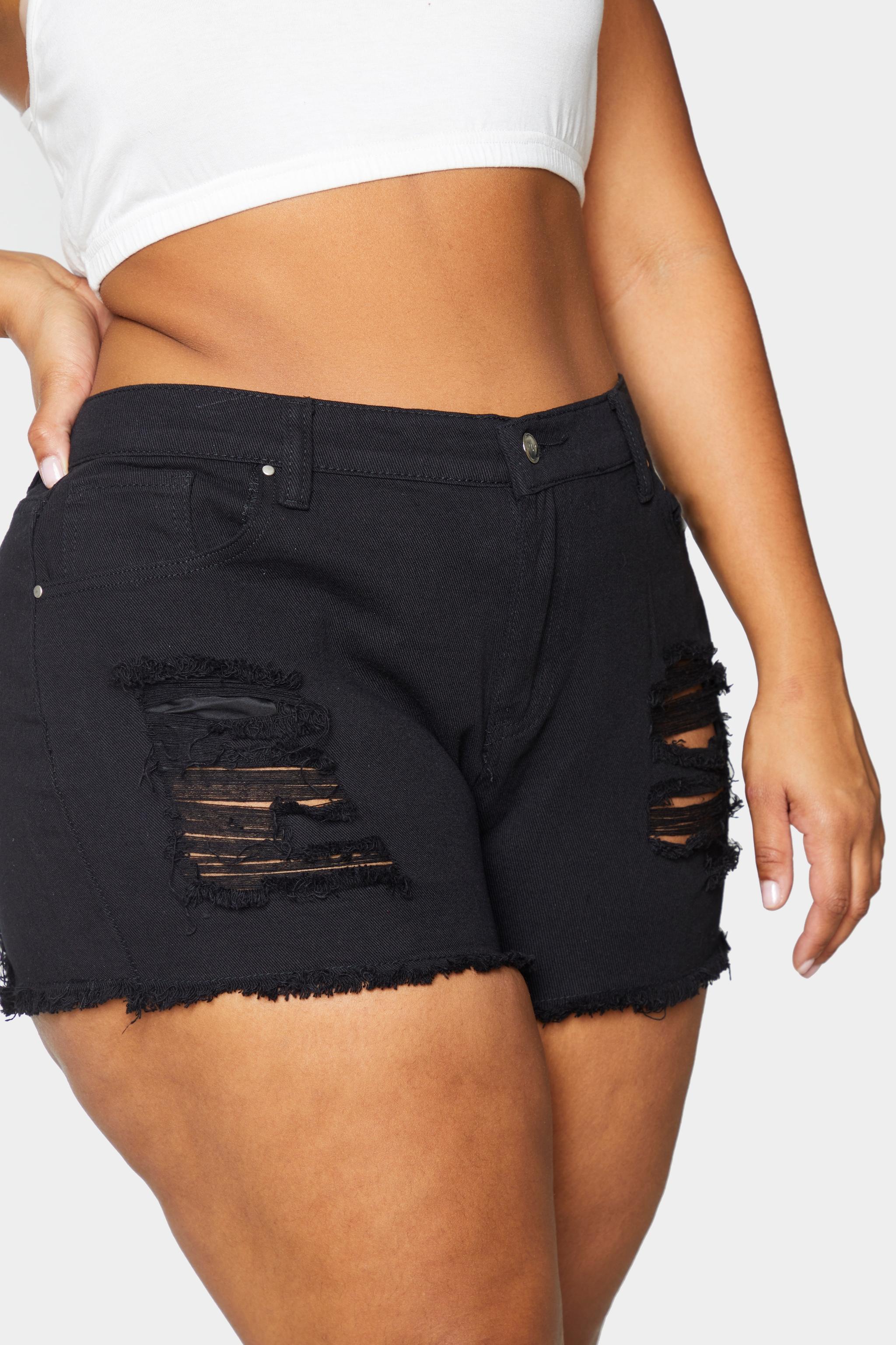 Plus Black Bum Rip Denim Hot Pants 5