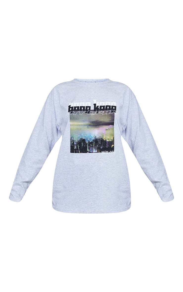 Grey City Lights New Age Printed Long Sleeve T Shirt 5