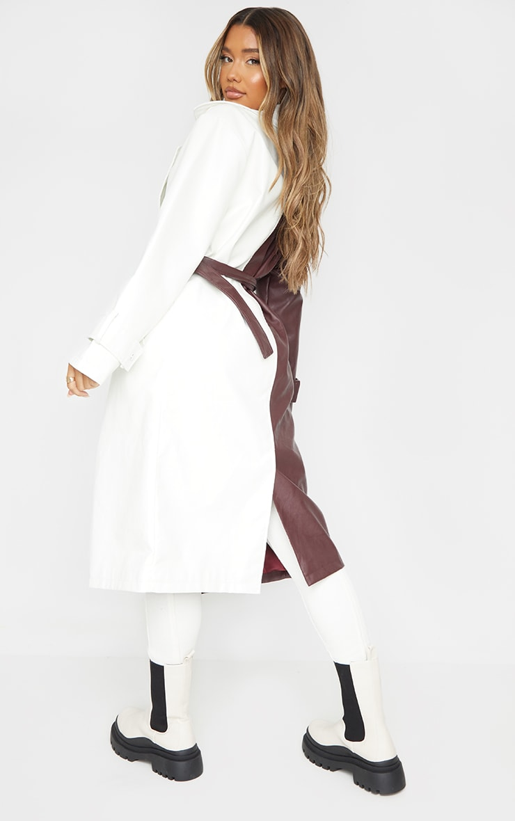 Chocolate Faux Leather Contrast Panel Front Trench 2