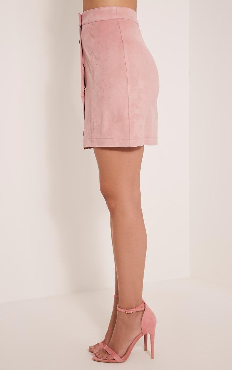Cheryl Blush Faux Suede Button Skirt 5