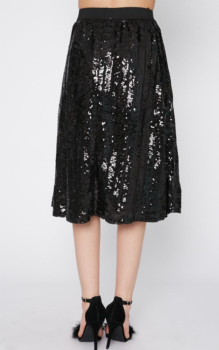 Amelia Black Sequin Pattern A Line Skirt  2