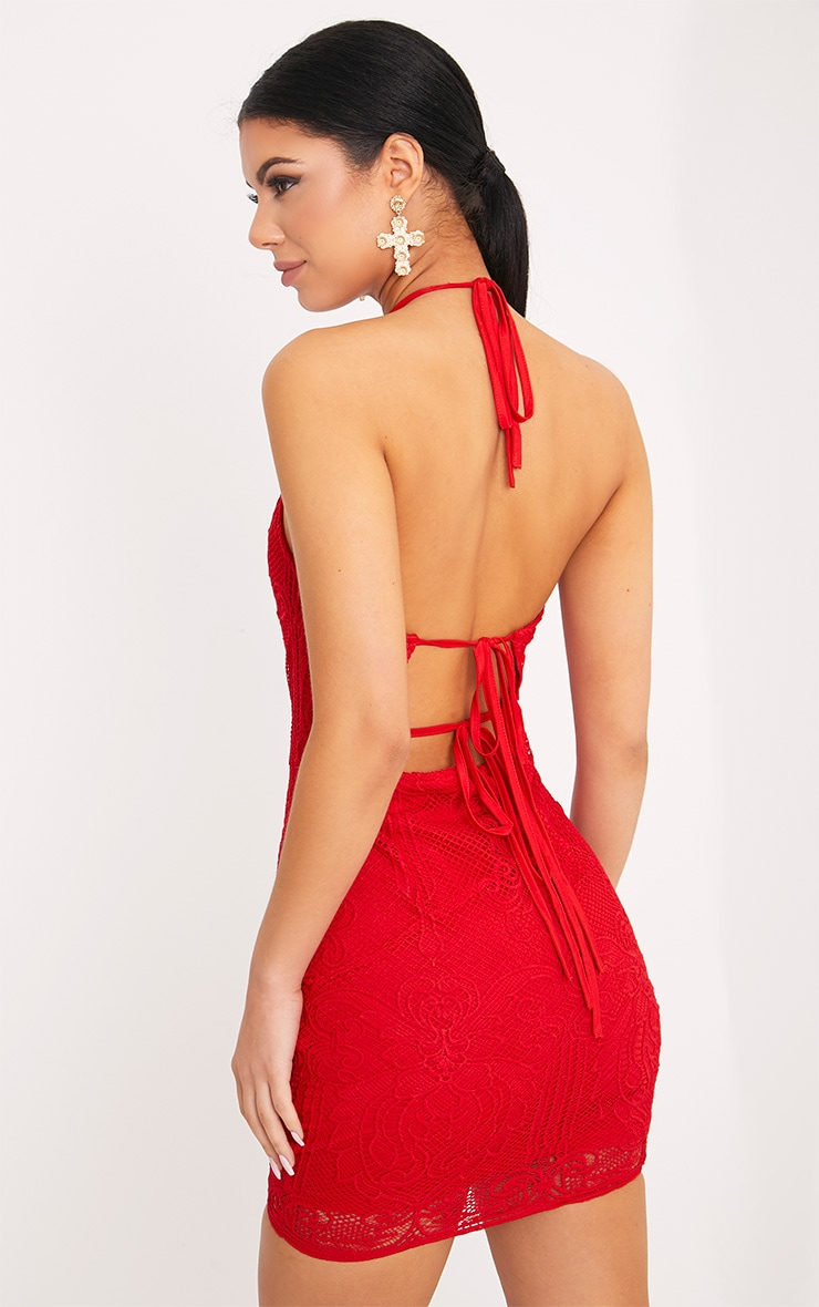Sassia Red Halterneck Strappy Back Lace Dress 5